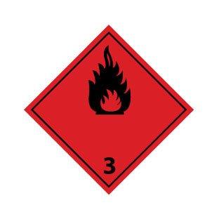 Los gases inflamables 3 negro pegatina