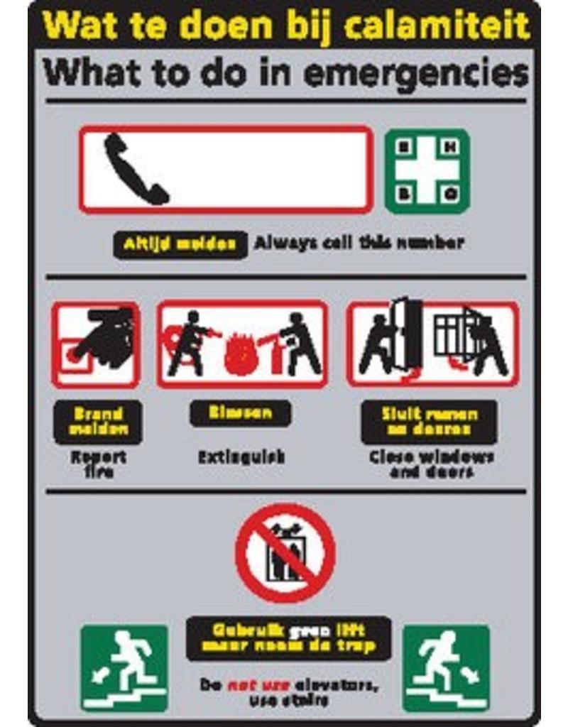 Pegatina informó a situaciones de emergencia