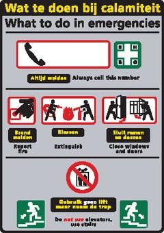 Autocollant signe avec conseil urgences autocollant