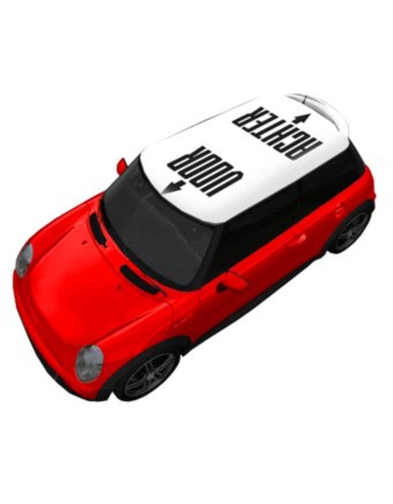 Autodach Sticker mit Text VORNE & HINTEN