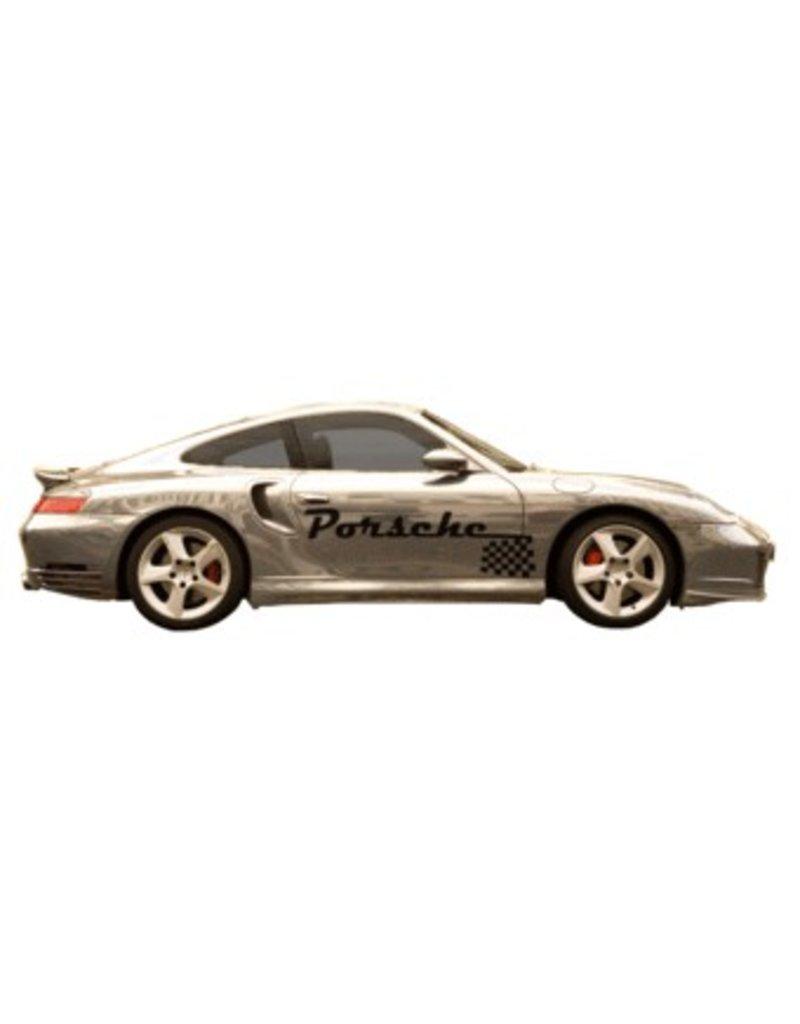 Porsche nom & drapeau à damier