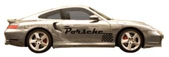 Porsche nombre y bandera del final
