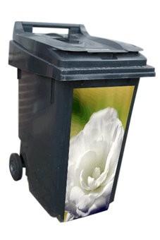 Rosa blanco contenedor pegatinas
