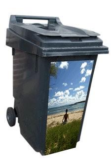 Plage poubelle autocollants