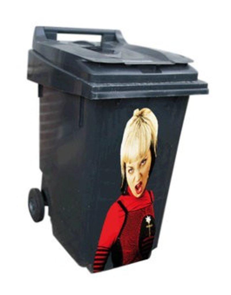Mujer contenedor pegatinas