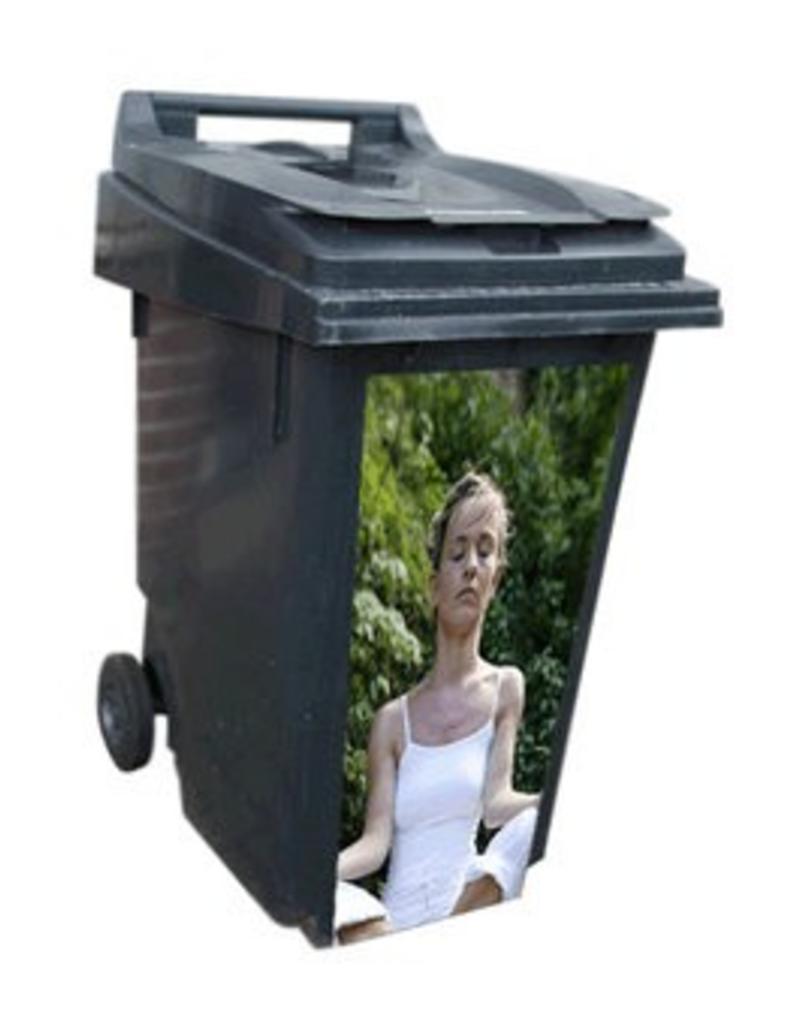Mujer meditando contenedor pegatinas