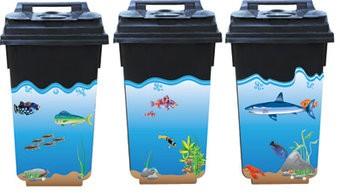 Sous-marin Autocollants 3 poubelles