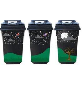 Pleine Lune 3 poubelle autocollants