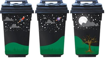 Full moon 3 container Stickers