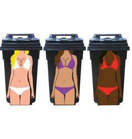 Femmes 3 poubelles autocollant