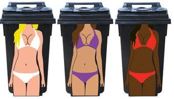 Woman 3 dustbin Stickers