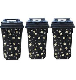 Petites fleurs 3 poubelle autocollant