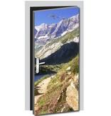 Pegatina de puerta montañas