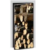 Gefälltes Holz Tür Aufkleber