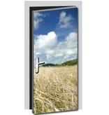 Pegatina de puerta hierba