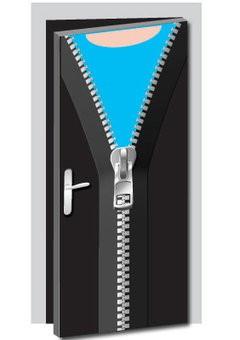 Open Zipper Door Sticker