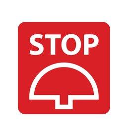 Bouton d'arrêter autocollant