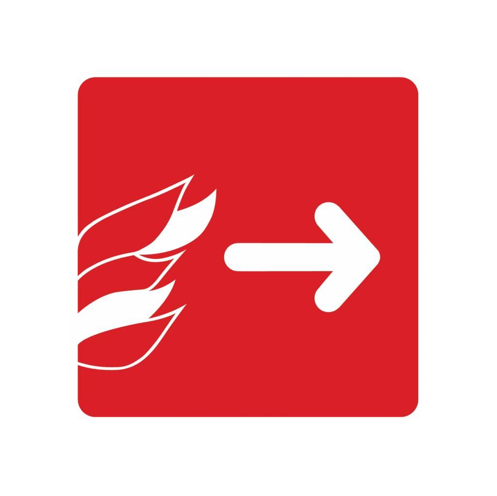 Pegatina salir a la derecha en el fuego
