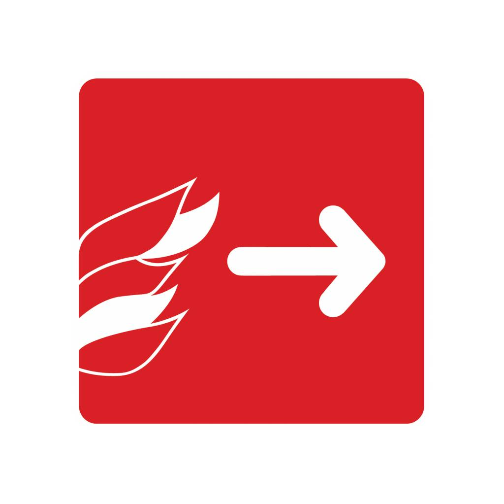 Uitgang rechts bij brand Sticker