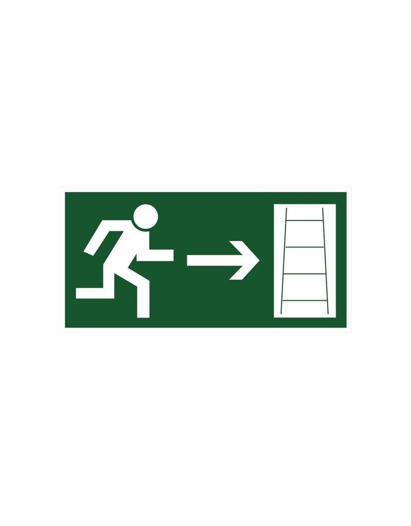 Fluchtweg Feuerleiter rechts Aufkleber