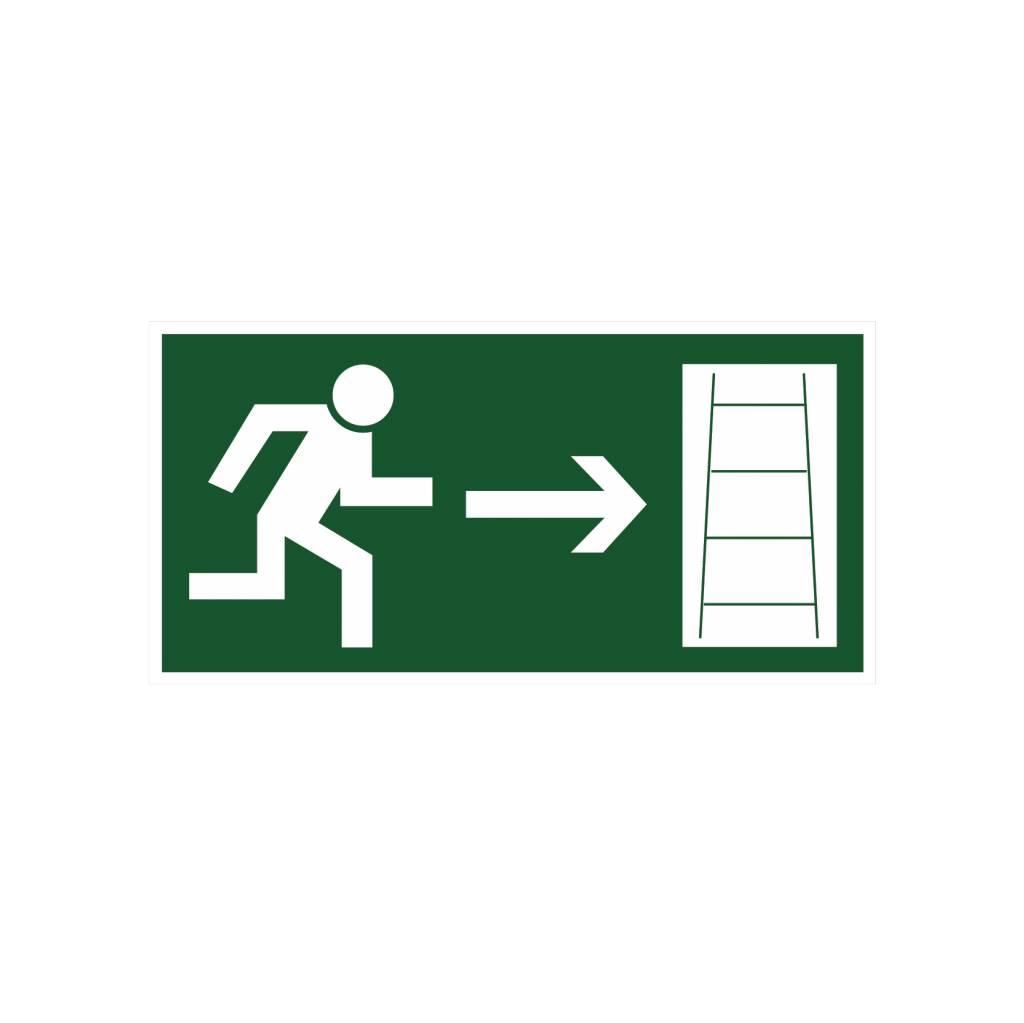 Escape route via emergency ladder right sticker