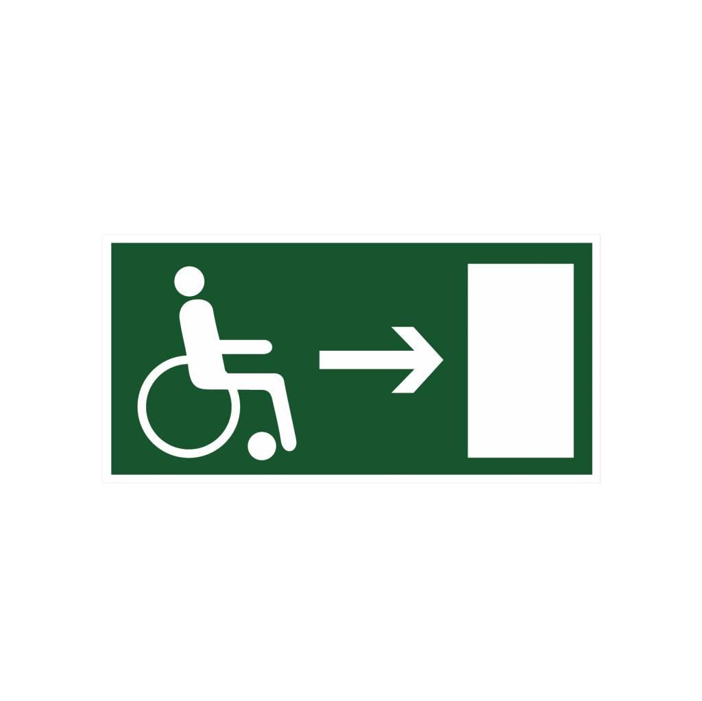 Vluchtweg voor gehandicapten rechts sticker