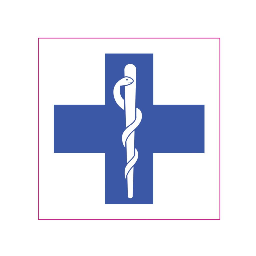 Erste Hilfe Blau Kreuz Aufkleber