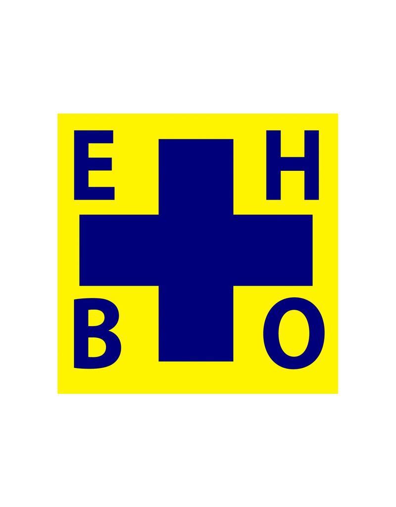 Pegatina cruz EHBO azul/amarillo