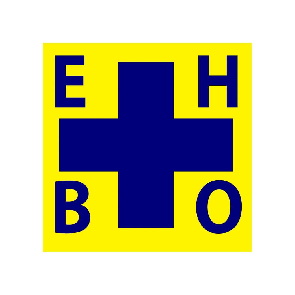 First aid cross blue/yellow Sticker