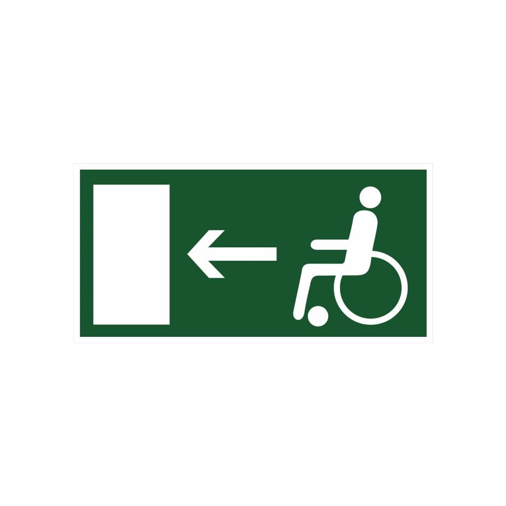 Sortie de secours pour handicapés gauche autocollant