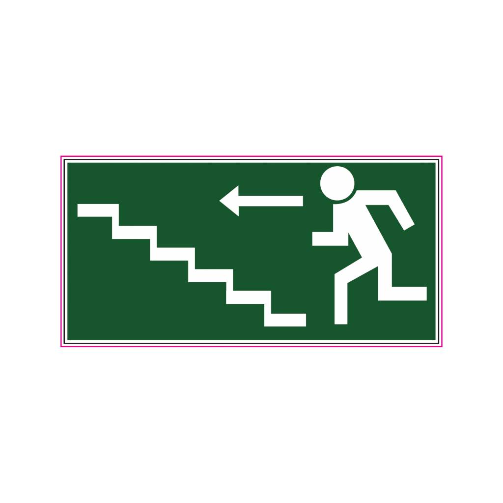Sortie de secours avec escaliers autocollant