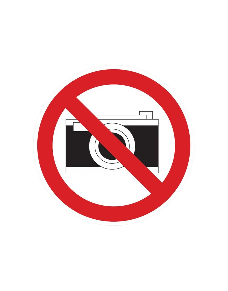 Photographing prohibited sticker