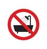 Verbotsaufkleber, verboten zu duschen oder zu baden