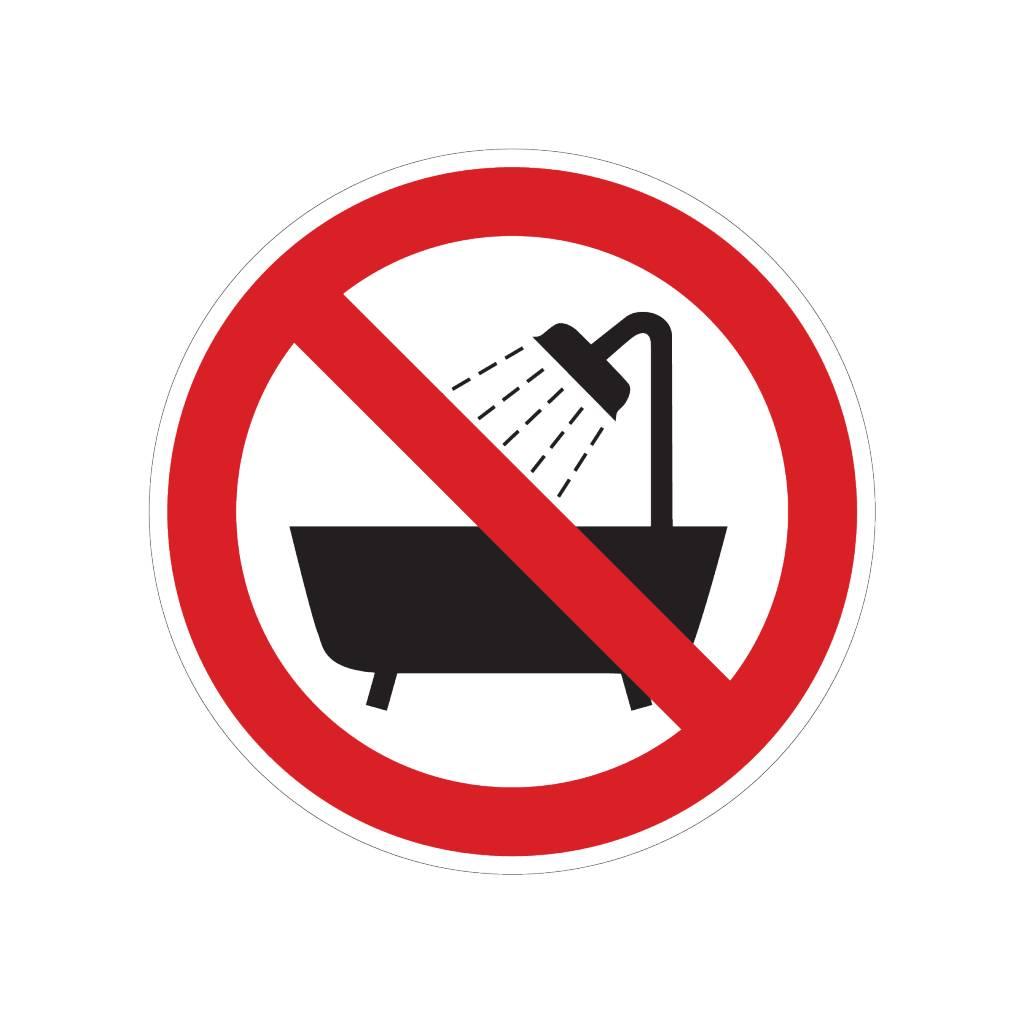No utilizar en la ducha pegatina