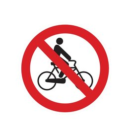Cycling prohibited sticker