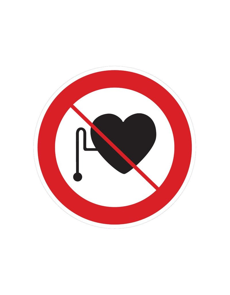 Interdite pour les personnes portant un stimulateur cardiaque autocollant