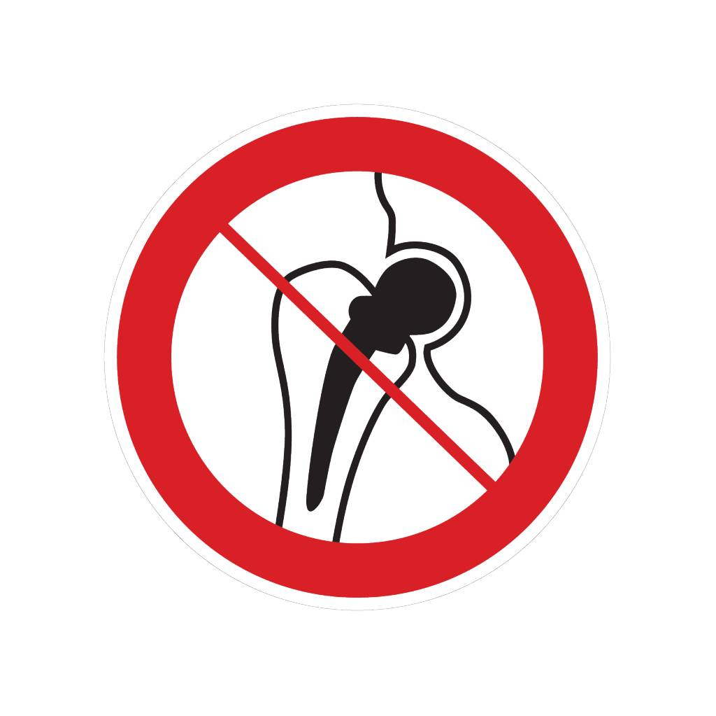 Forbidden for people with metal implants sticker
