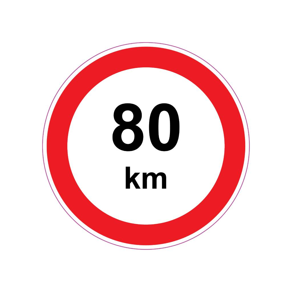 Max. 80 km autocollant
