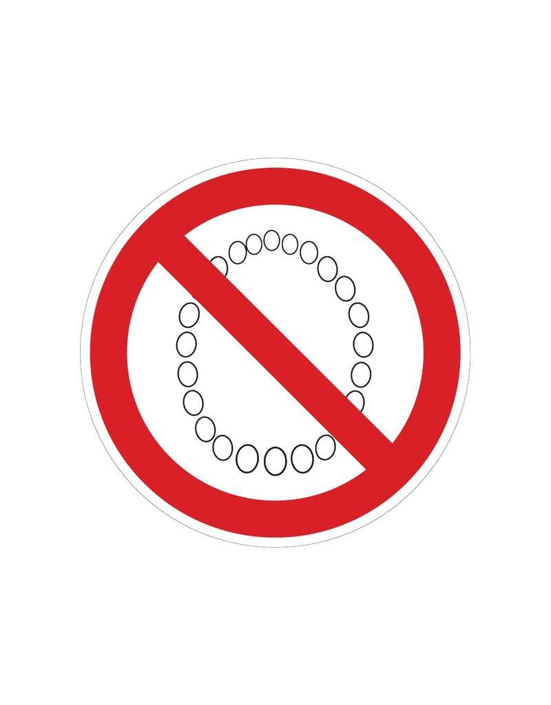 Interdit de porter des colliers autocollant