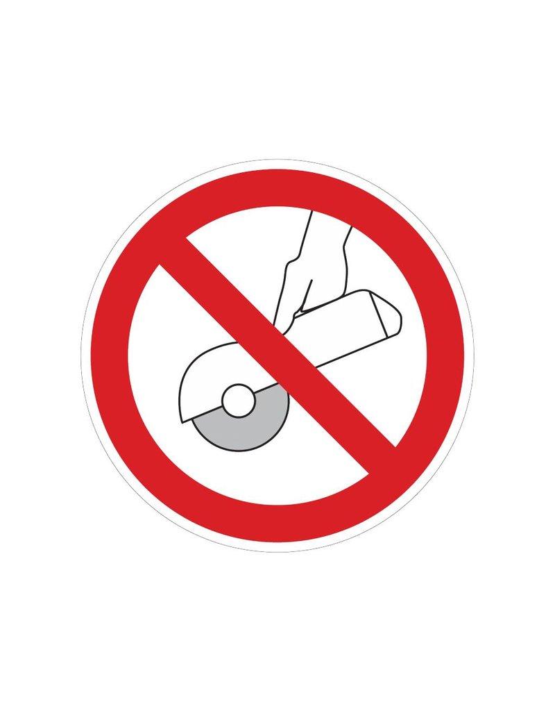 Verboden met de hand te slijpen sticker