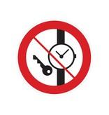 Kleine metalen voorwerpen verboden sticker