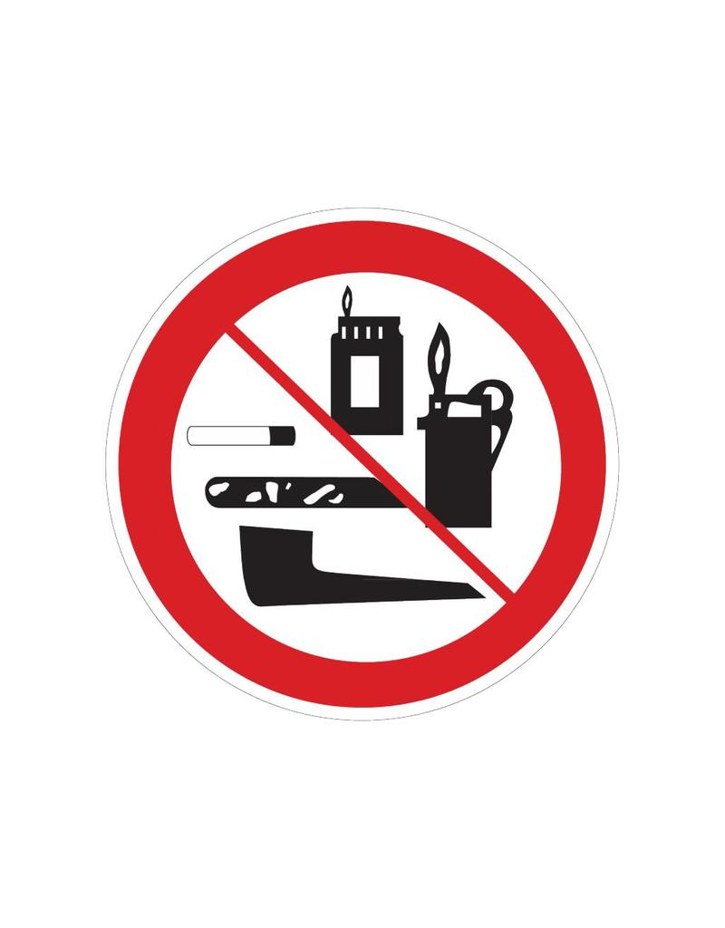 Inclusion of tobacco products, lighters and matches prohibited sticker