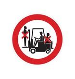 Accompagnez sur chariot élévateur interdite autocollant