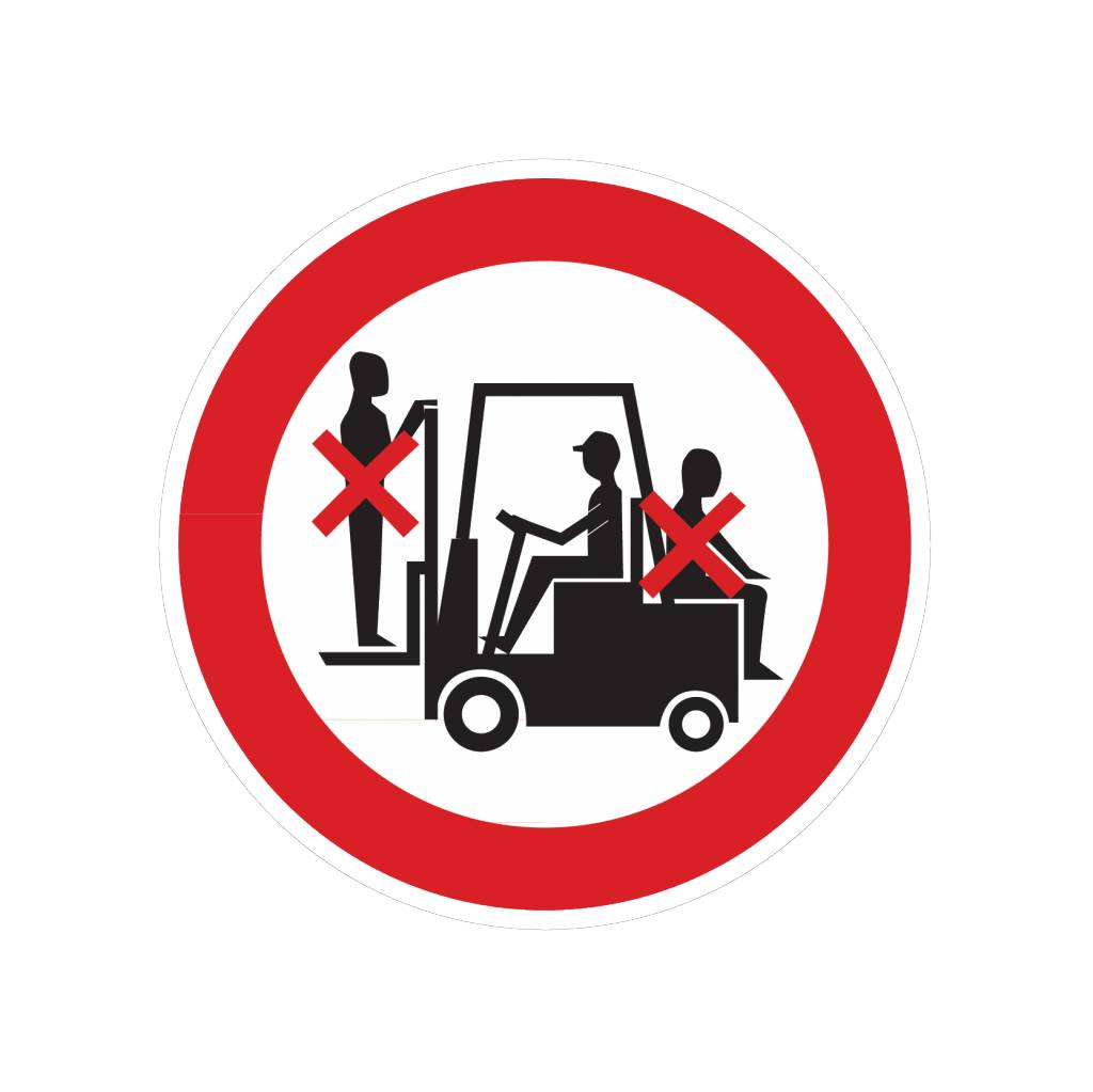 Acompañar carretilla elevadora prohibido pegatina