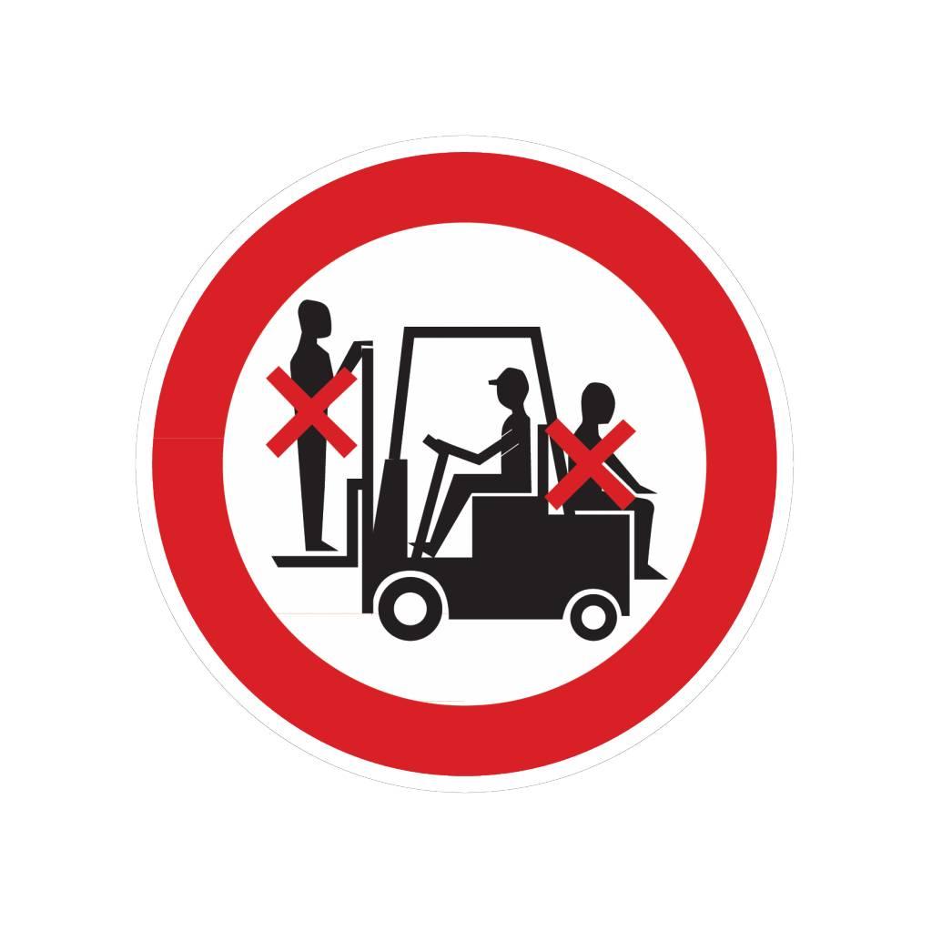 Meerijden op voorheftruck verboden sticker