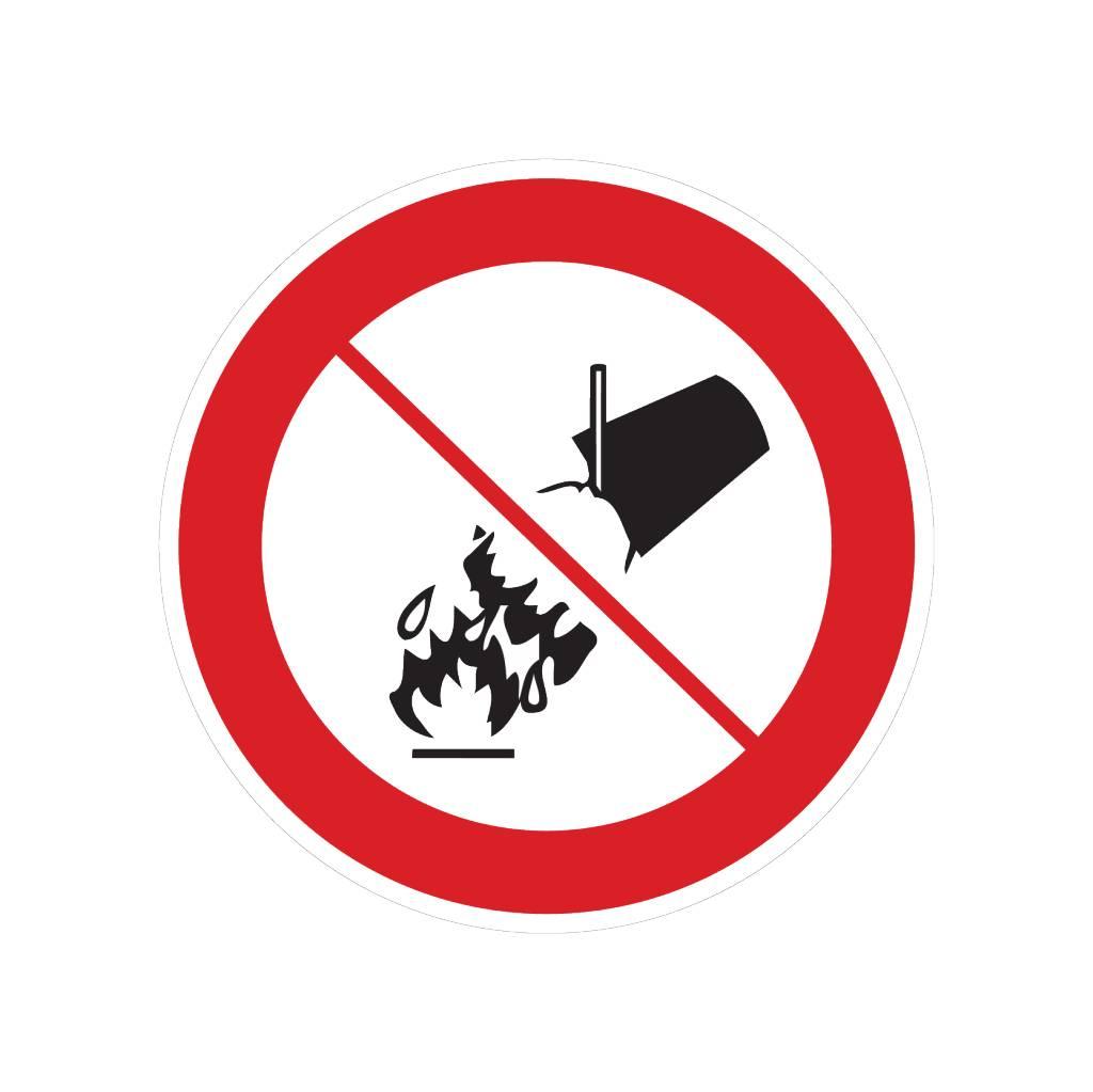 No extinguir con agua pegatina