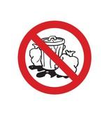 Prohibido poner los residuos pegatina