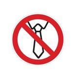 Servicio prohibido con corbata pegatina