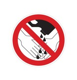 Forbidden to use chemicals during washing hands sticker