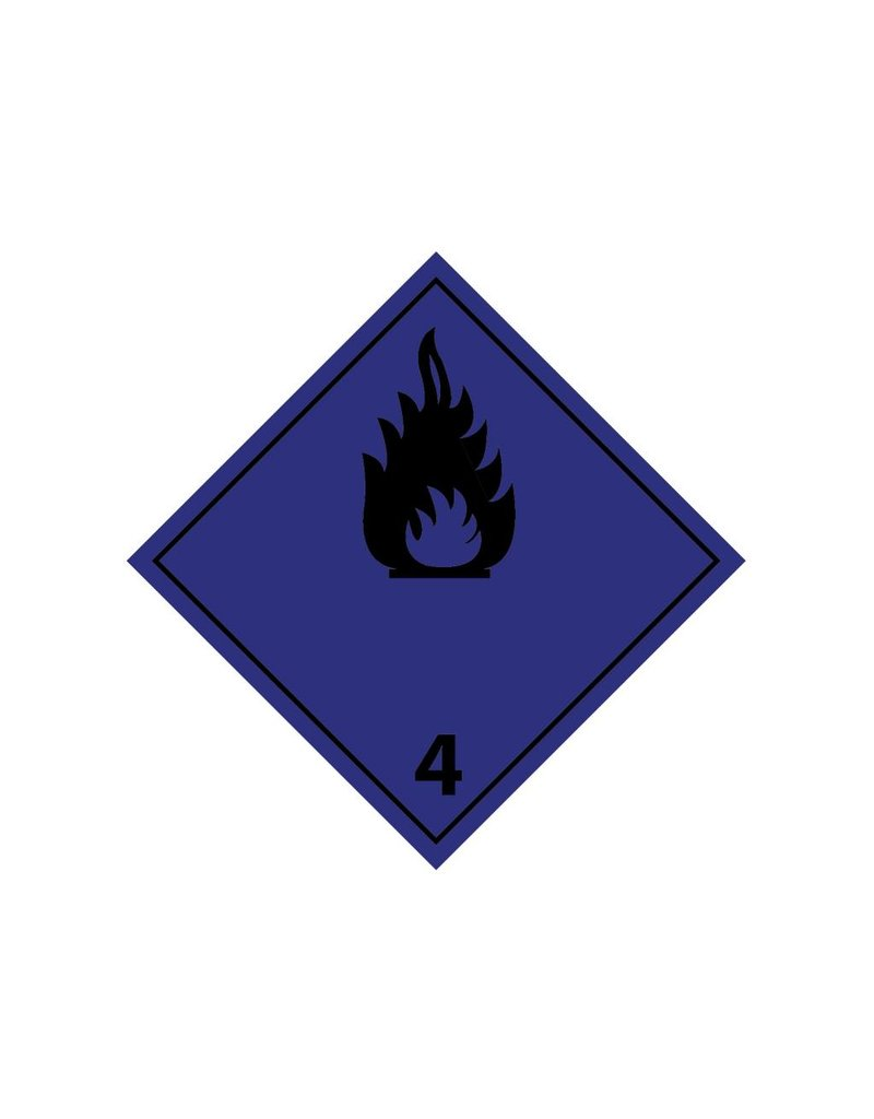 Developed flammable gases in contact with water Sticker